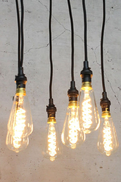 Unique hanging light with designer bulbs