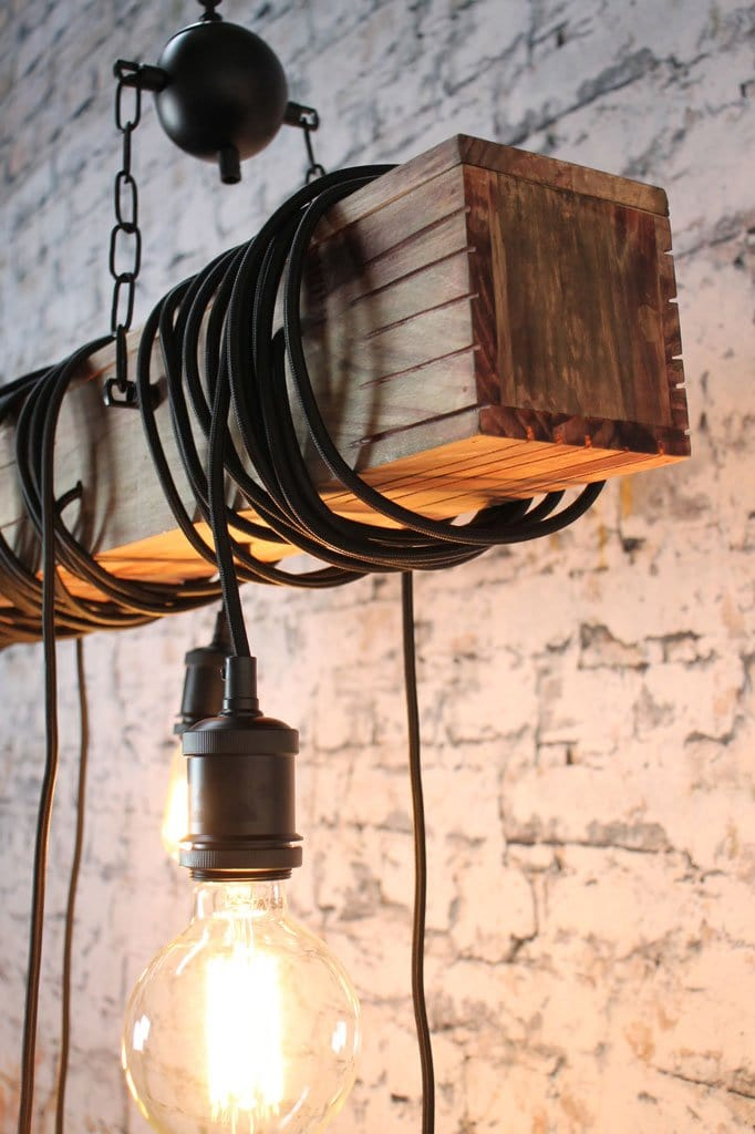 Large rustic wooden hanging pendant light