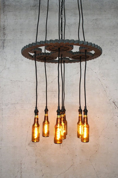 Unique pendant lighting with beer bottle bulbs