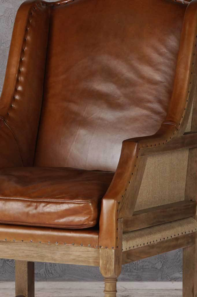Super imposed vintage leather chair high back armchair french design