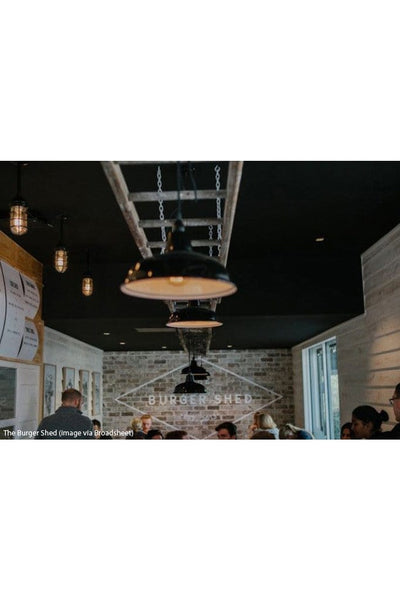 Warehouse shades and cage bunker pendants at the burger shed mosman image via broadsheet