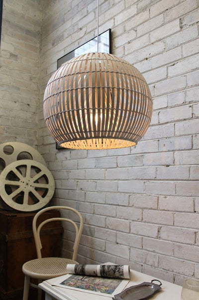 Wicker Pendant Light In Cane White Brown Shade Australia