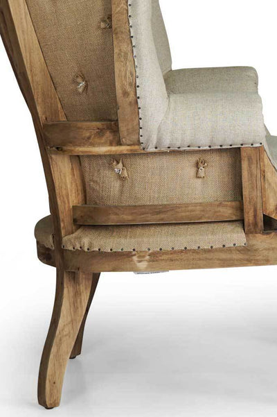 Wingback french provincial fabric armchair Australian furniture online rustic exposed hardwood aged