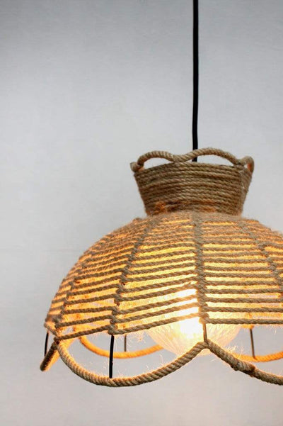 Woven rope pendant light