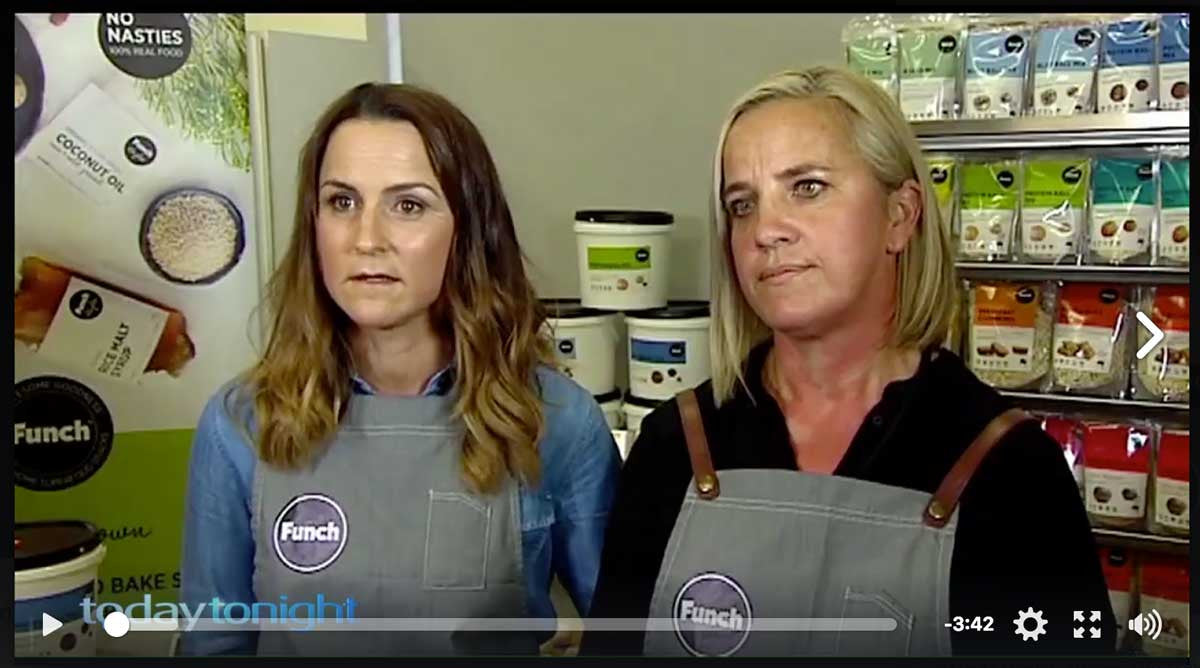 Lisa Bourne and Tanya Duncan from Funch on Today Tonight