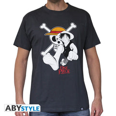 One Piece - T-shirt - Luffy og Flag
