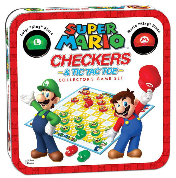 Super Mario – Checkers & Tic-Tac-Toe Mario vs. Luigi Collector's Game - Brætspil (Forudbestilling)