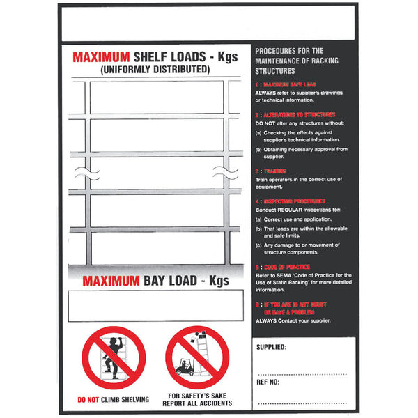 Shelf/Pallet Racking Load Notice (BLS1)