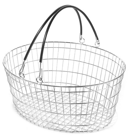 (Set of 10) Oval Wire Shopping Basket Black (25L)