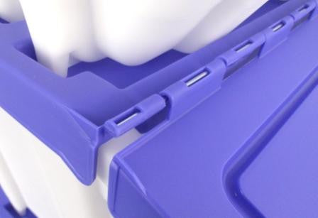 Stacking Storage Boxes with Blue Hinged Lid