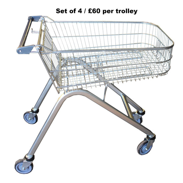 Set of 4 Wire Shopping Trolleys 70L Shallow (B36/70S)