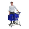 Blue 100L Shopping Trolley with person for scale