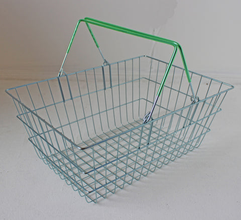 Wire Shopping Baskets Green Handles (21L)