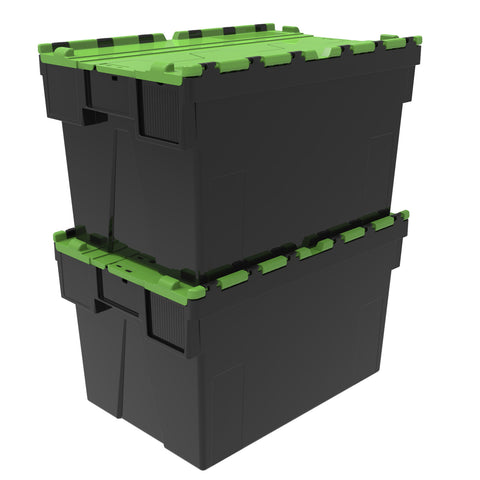 Loadhog H/Duty Attached Lid Container Green 600x400x365mm (65L)
