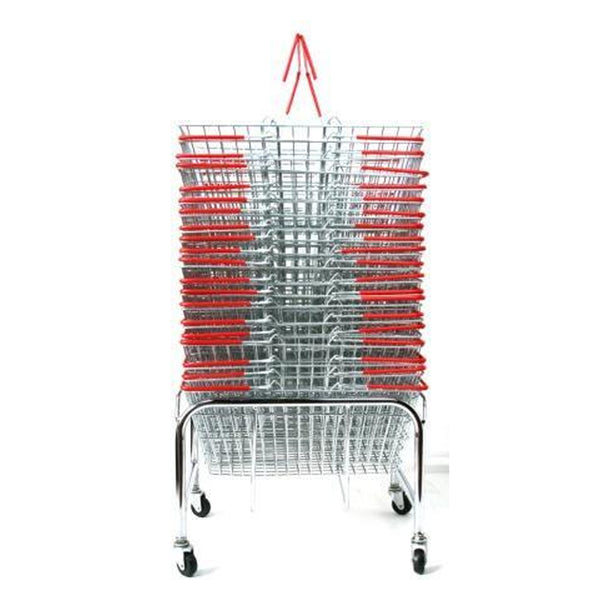 red shopping baskets and plinth