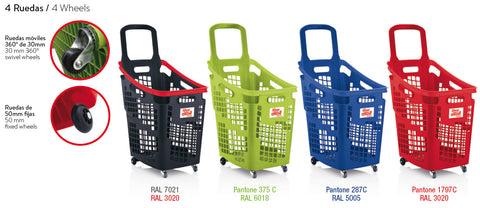 X-Large 4 Wheel Plastic Trolley Basket Blue (65L)