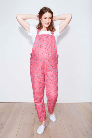 Doris Dungarees in floral pink pattern