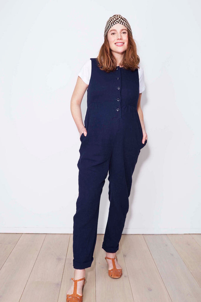 eaa2e170922 Martha Jumpsuit in navy double cloth cotton – Clary and Peg