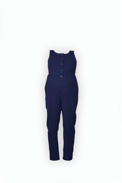 Martha Jumpsuit in navy double cloth cotton