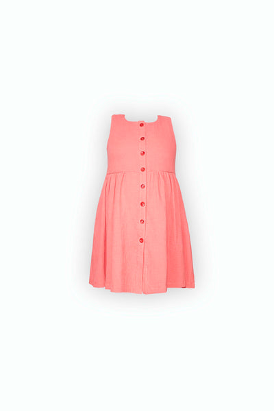 Flora Button-down Dress in coral cotton