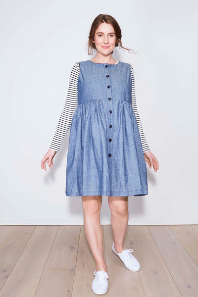 Flora Button-down Dress in chambray