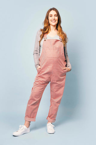 Doris Dungarees in Red Candy Stripe Denim