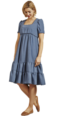 Blue Crepe Party Dress