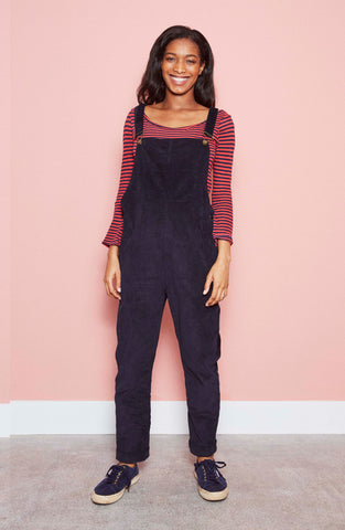 Doris Dungarees in Navy Needlecord