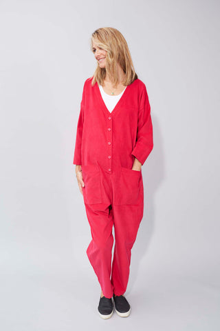 Betty Boilersuit in Hot Pink Needlecord