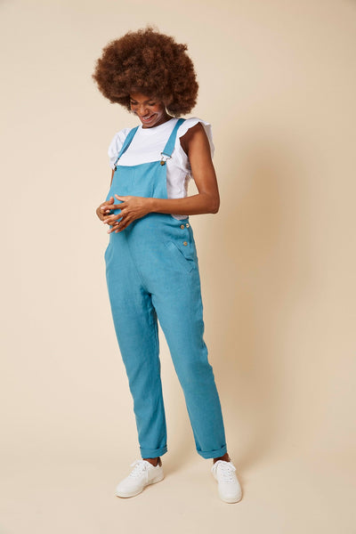 Doris Dungarees in Bright Blue Linen