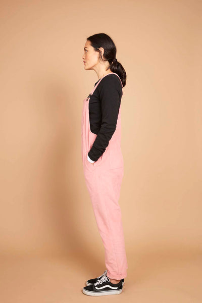 Doris Dungarees in Pink Needlecord