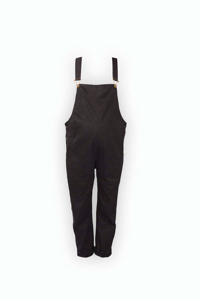 Doris Dungarees in Black Cotton Twill