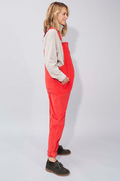 Doris Dungarees in Coral Red Needlecord