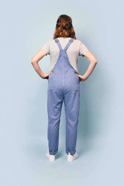 Doris Dungarees in Blue Stripe Light Cotton