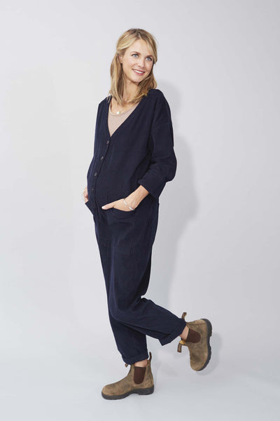 Betty Boilersuit in Navy Needlecord