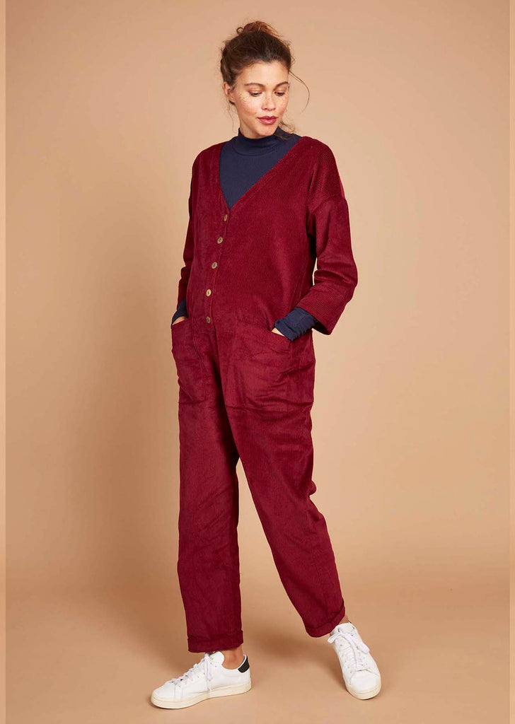 Betty Boilersuit in Wine Corduroy