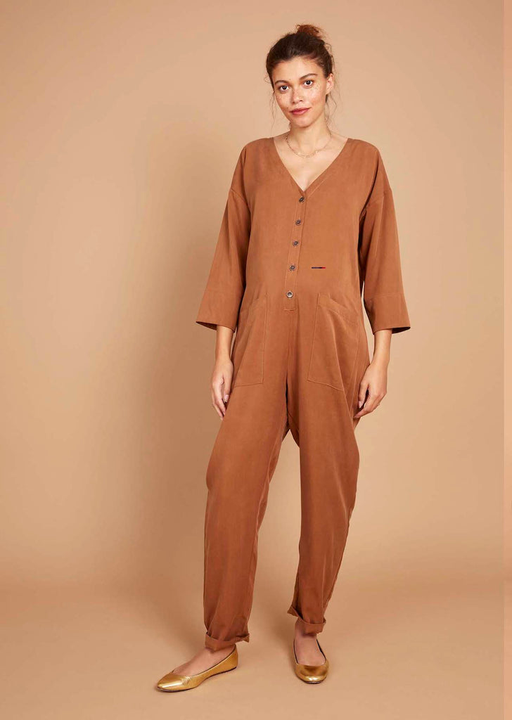 Betty Boilersuit in Caramel Tencel Twill