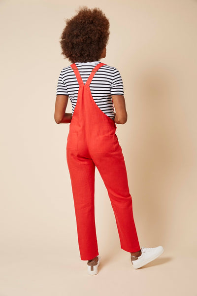 Doris Dungarees in Pillar Box Red Linen