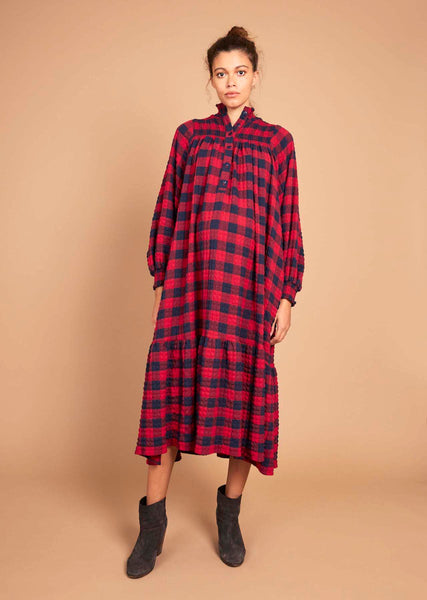 Phoebe dress in navy and red check