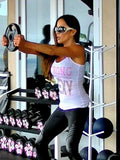 STRONG IS SEXY Tank Top: White with Pink & Silver Glitter - Kiana Fitness Shop - 1