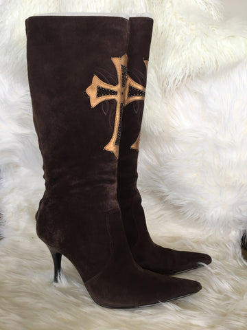 SEXY SUEDE BROWN CROSS BOOTS WITH PHOTO IN BOOTS