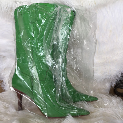 BRAND NEW LUCHESE GREEN APPLE BOOTS WITH PHOTO IN BOOTS