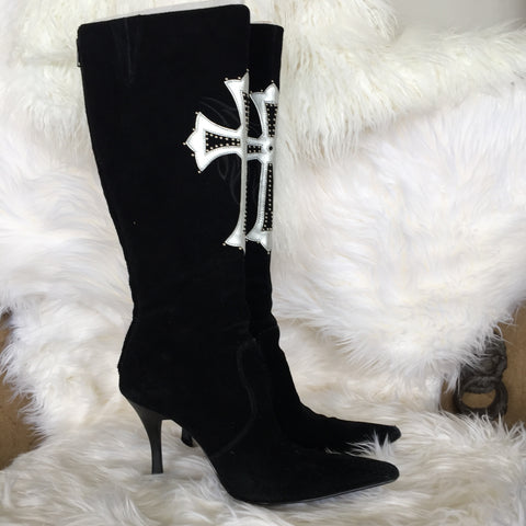SEXY SUEDE BLACK CROSS BOOTS WITH PHOTO IN BOOTS