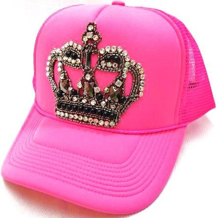 Neon Bling Crown Hat - Hot Pink - Kiana Fitness Shop