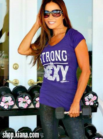 NEW! STRONG IS SEXY Shirred Waist Short Sleeve Shirt - Power Purple - Kiana Fitness Shop - 1
