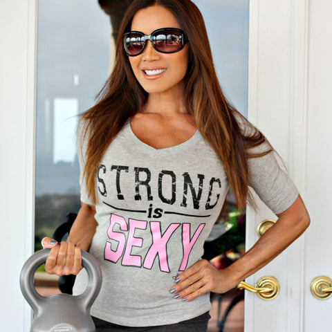STRONG IS SEXY 3/4 Length Sleeve: Heather Gray - Kiana Fitness Shop - 1