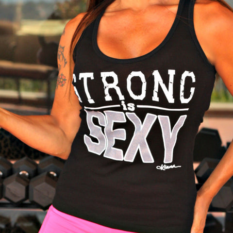 STRONG IS SEXY Tank Top: Buff Babe Black - Kiana Fitness Shop - 1