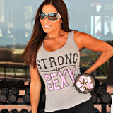 STRONG IS SEXY Tank Top: Heather Gray - Kiana Fitness Shop - 1