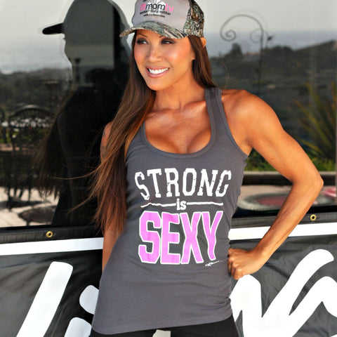 STRONG IS SEXY Tank Top: Steel Gray - Kiana Fitness Shop - 1