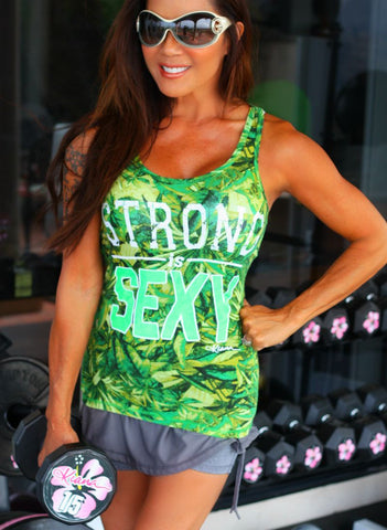 STRONG IS SEXY Tank Top: Tropical Print - Kiana Fitness Shop